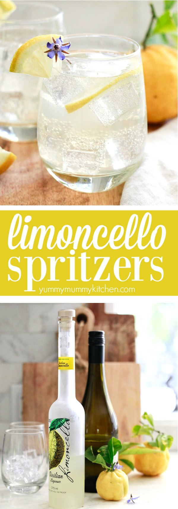 Limoncello spritzers are such fun and tasty Italian inspired cocktails! These easy limoncello prosecco spritzers are the perfect drink for spring and summer parties!