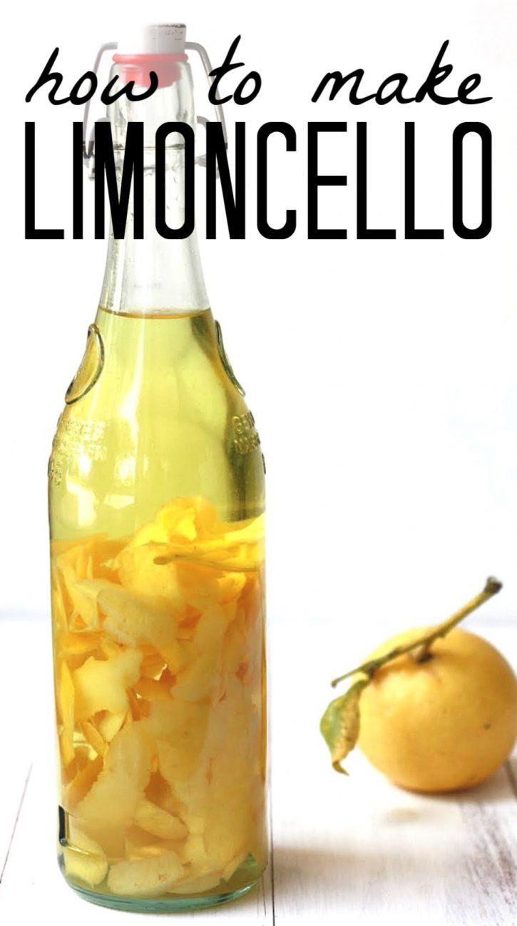 An easy limoncello recipe. Bottle of limoncello.