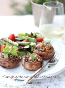 Mini portobello mushrooms stuffed with lentils and vegetables