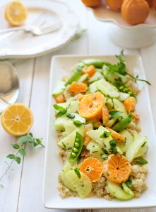 Spring salad with snap peas and pixie tangerines.