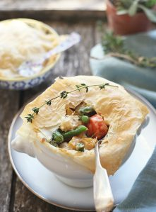 Beautiful vegetarian pot pie with phyllo crust.