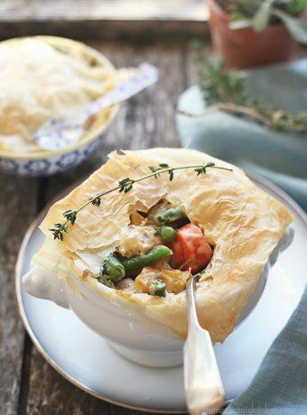 Beautiful vegetarian pot pie with phyllo crust.