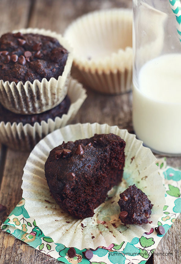 Delicious chocolate banana muffins made with almond and coconut flour.