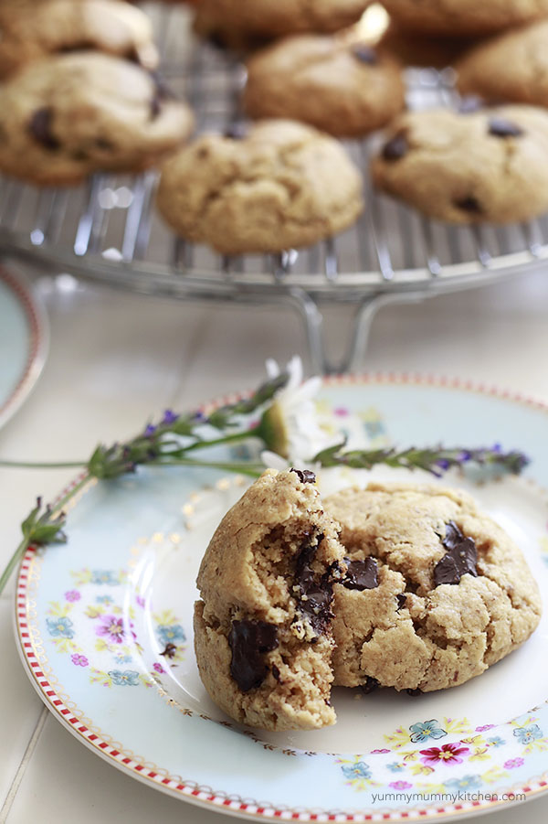 Almond flour chocolate chip cookies on a plate.