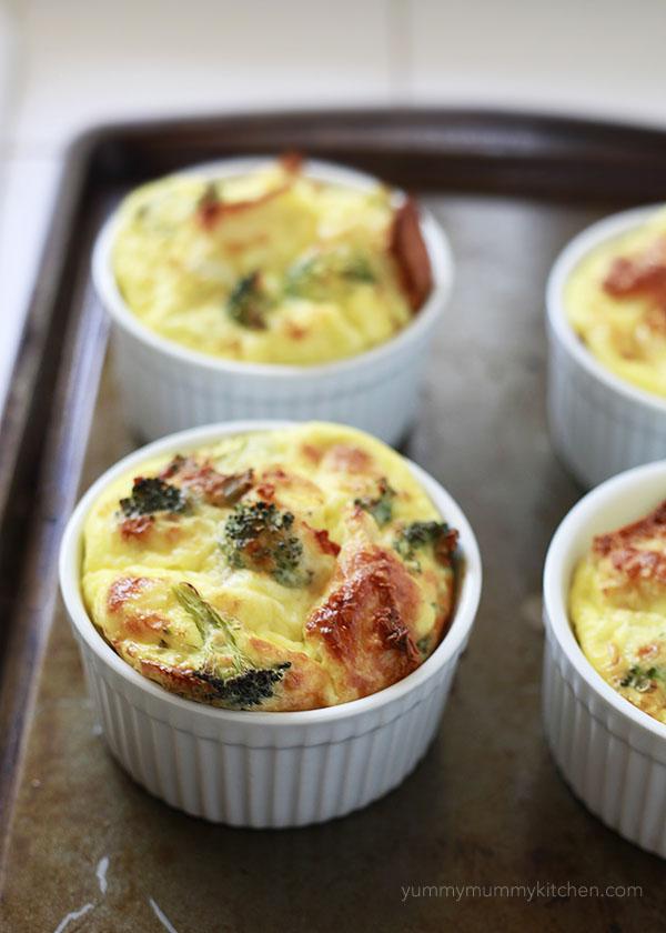 Overnight Mini Baked Egg Casseroles With Broccoli And Ciabatta