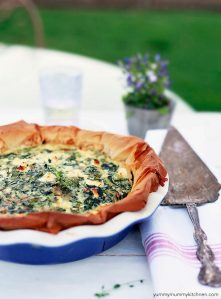 A flavorful spinach and feta quiche with filo crust.