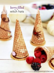 Cute witch hat halloween treats for kids.