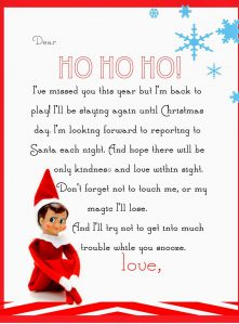 A cute free printable letter from Elf on the Shelf