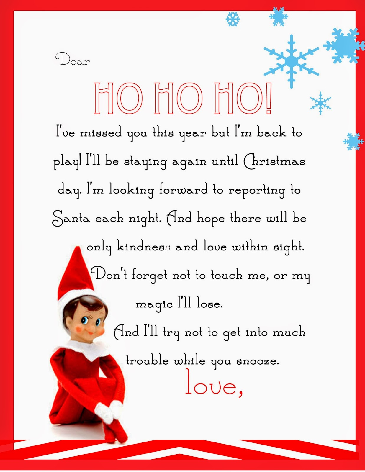 image about Elf on the Shelf Printable identified as Elf upon the Shelf Letter free of charge printable