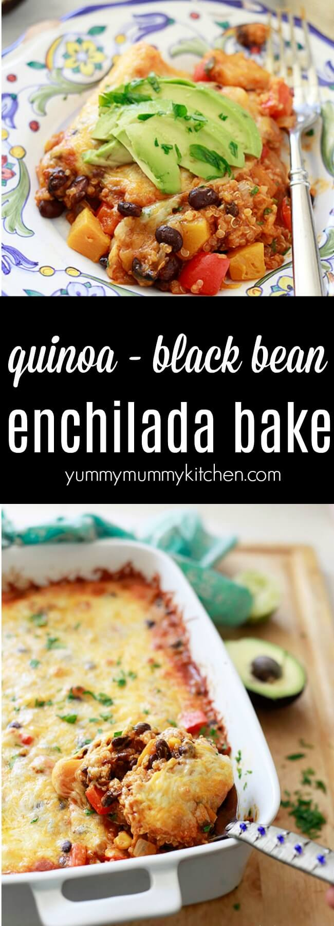 How to make a healthy vegetarian Mexican quinoa enchilada bake casserole with black beans and butternut squash. Quinoa enchilada bake is a delicious vegetarian family dinner.