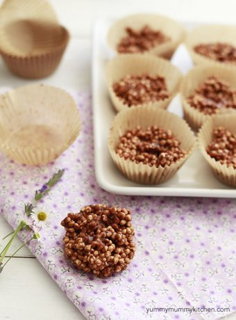 Puffed quinoa with chocolate and peanut butter make a tasty healthy treat.