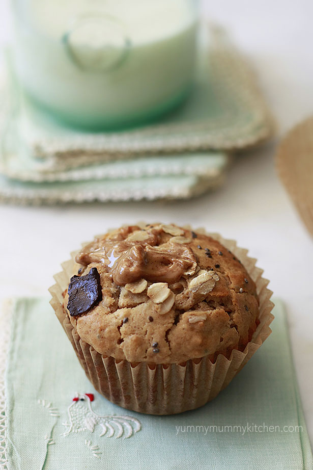 Nutritious muffins with oats, peanut butter, chia seeds, and chocolate are a tasty breakfast or snack.