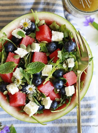 Watermelon, feta, arugula, mint salad.