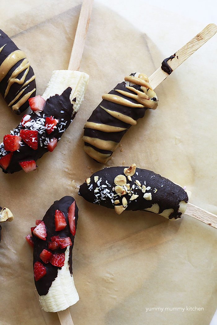 Delicious homemade chocolate covered frozen banana are a delicious treat for summer or anytime. They're easy to make vegan and gluten-free.