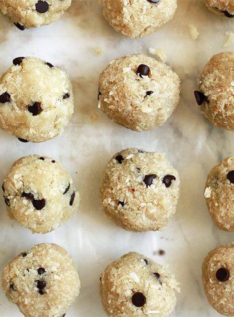 Vegan chocolate chip cookie dough balls.