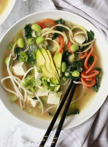 A bowl of miso soup with spiralized vegetable noodles.