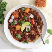 Slow Cooker Vegan Chili with Quinoa and Butternut Squash