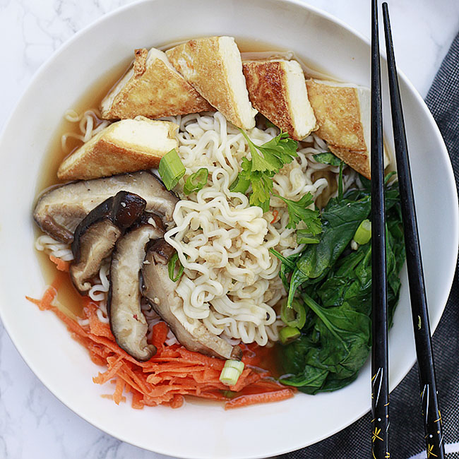 A delicious homemade vegan ramen broth and toppings.