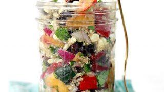 Quinoa Salad with Avocado, Beans, Corn, and Peaches
