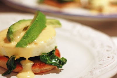 Veggie Benedict with avocado, egg, kale, and hollandaise sauce.