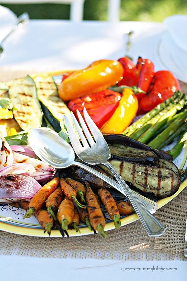 A beautiful platter of grilled vegetables.