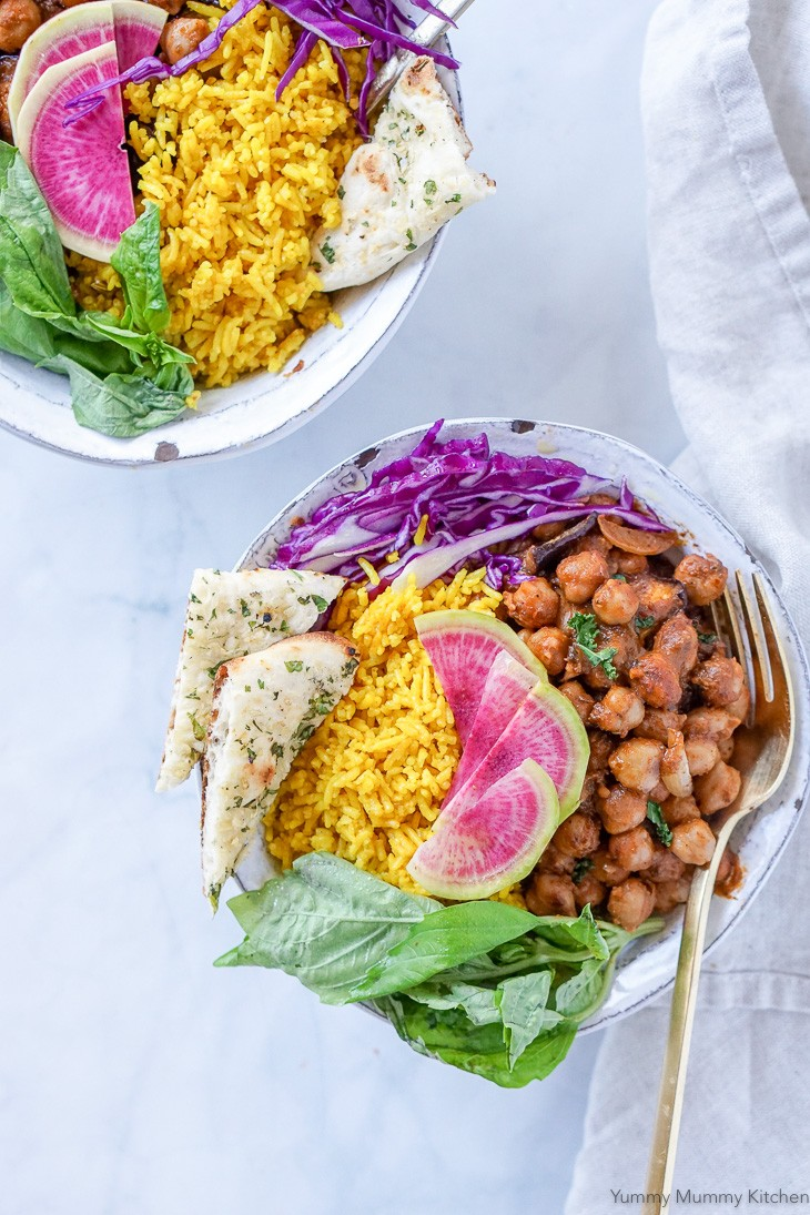 Chana Masala Bowls with Indian Spiced Rice, Watermelon Radish, and Cabbage.