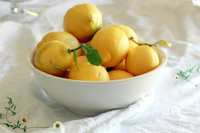 A bowl filled with homegrown California lemons.