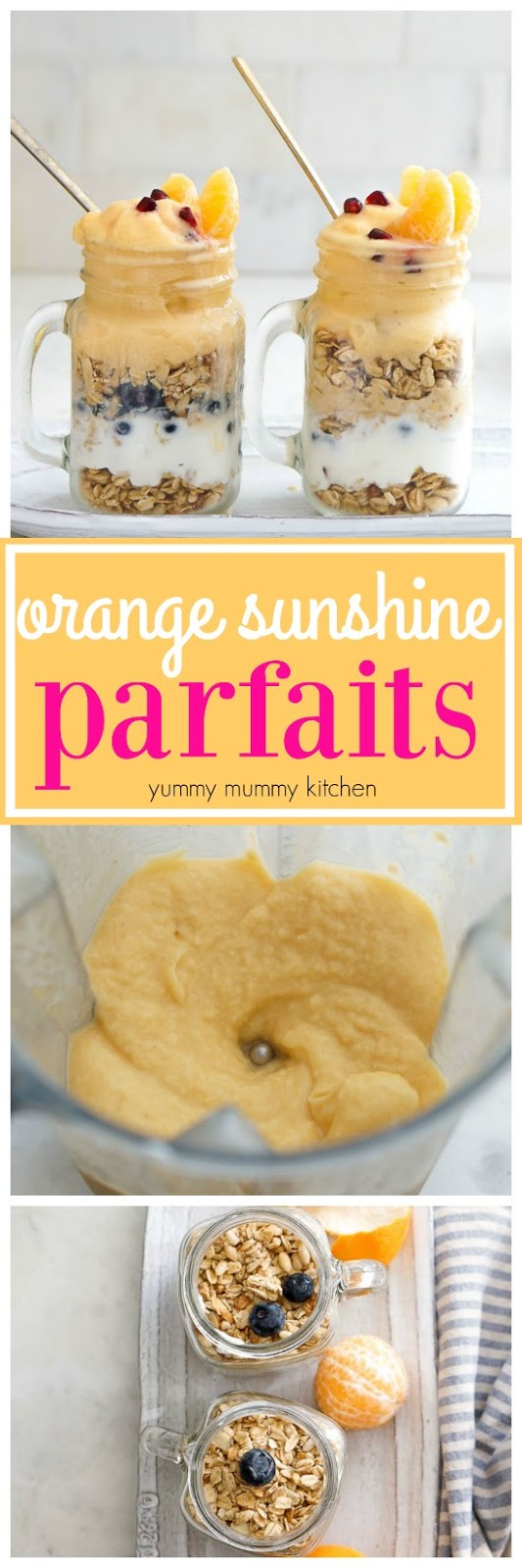 These orange smoothie, granola, and yogurt fruit parfaits are a kid-favorite! They are perfect for breakfast or snack.