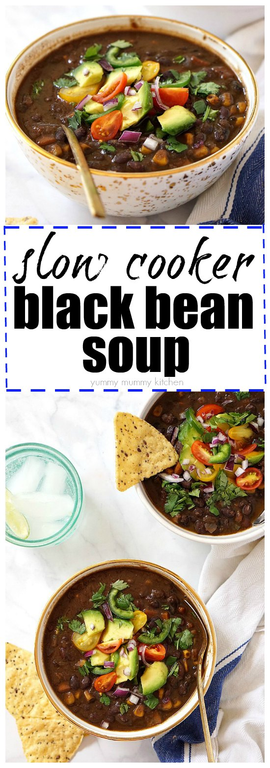This easy vegetarian and vegan black bean soup is so easy to make in the slow cooker!