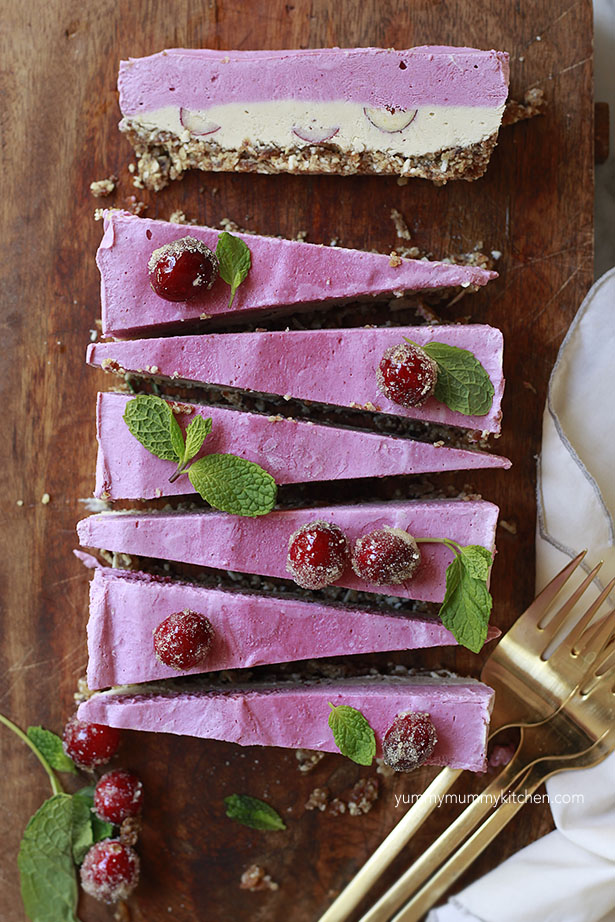 Raw Vegan Cheesecake Slice with Cranberries