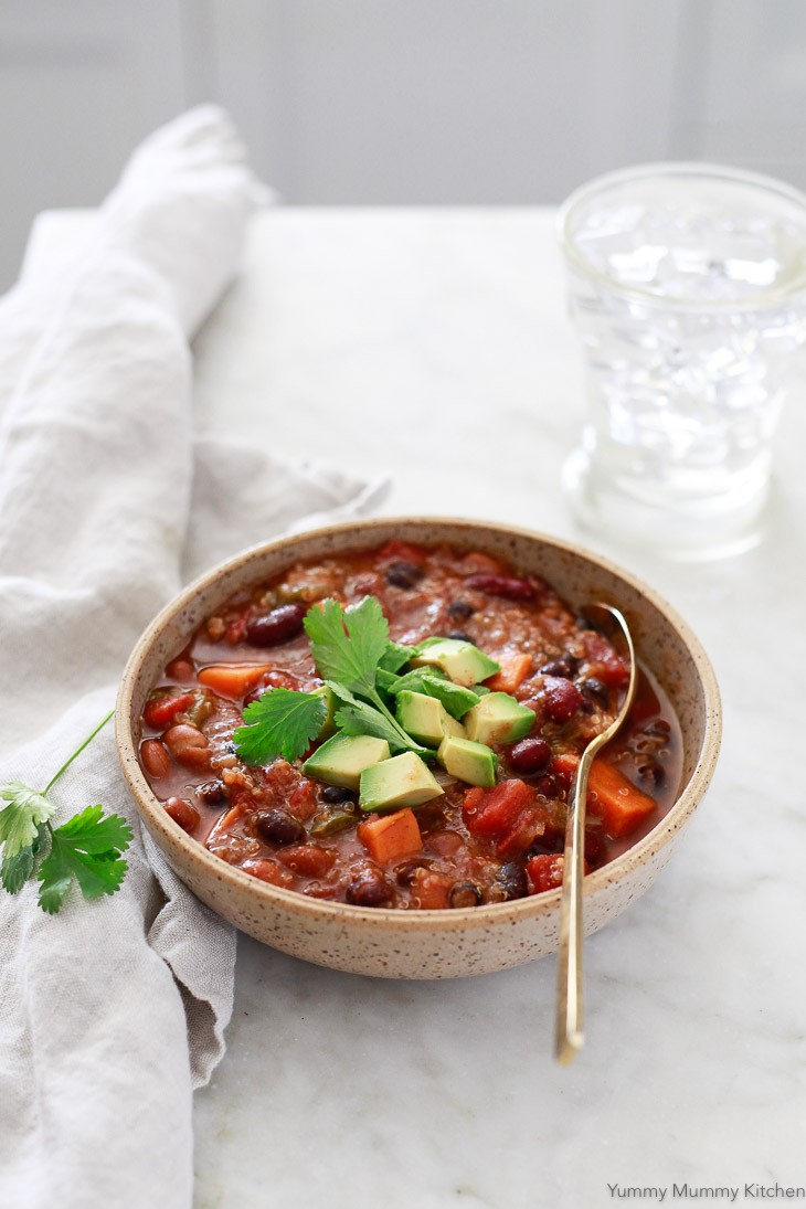Hearty vegetarian vegan chili with quinoa and sweet potato.