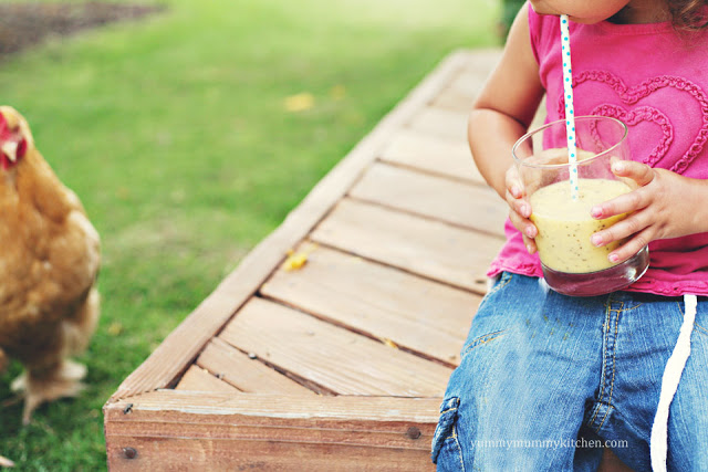 A child drinking a healthy chia smoothie with a chicken in the garden.