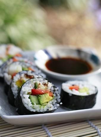 A close up photo of vegan sushi.