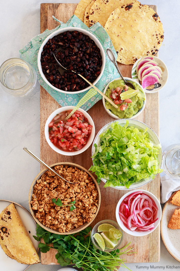 Easy tempeh tacos as part of a DIY taco bar.