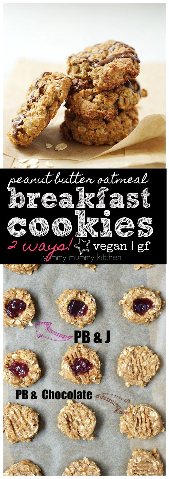 These vegan peanut butter oatmeal breakfast cookies are made with natural sweeteners and wholesome ingredients. Make them PB&J or with a chocolate drizzle.