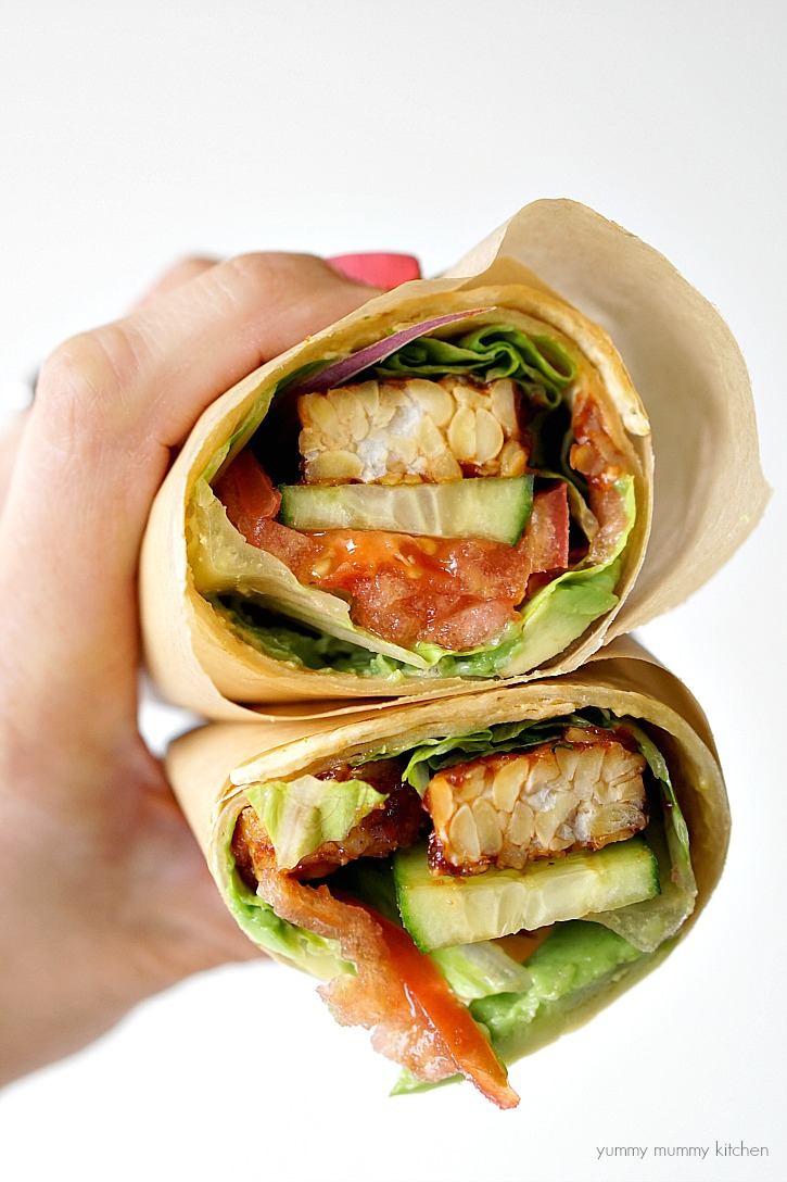This BBQ tempeh wrap has delicious BLT flavors.