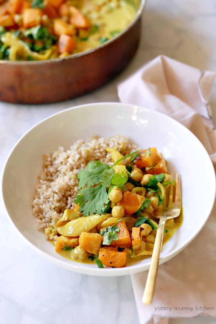 Easy coconut chickpea yellow curry with butternut squash and spinach.
