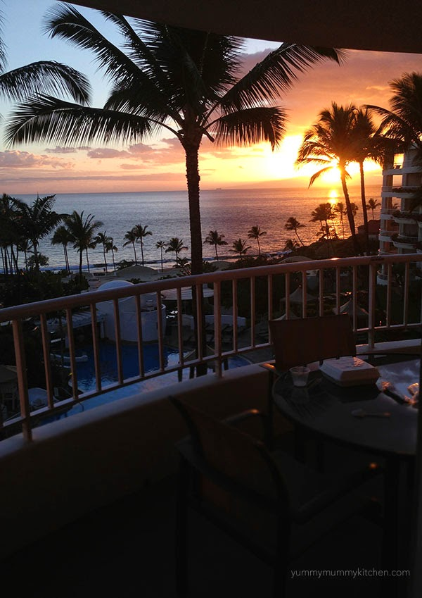 Sunset view from a suite at the Fairmont Kea Lani