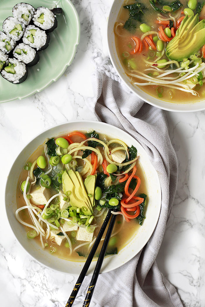 vegan miso soup with vegetables