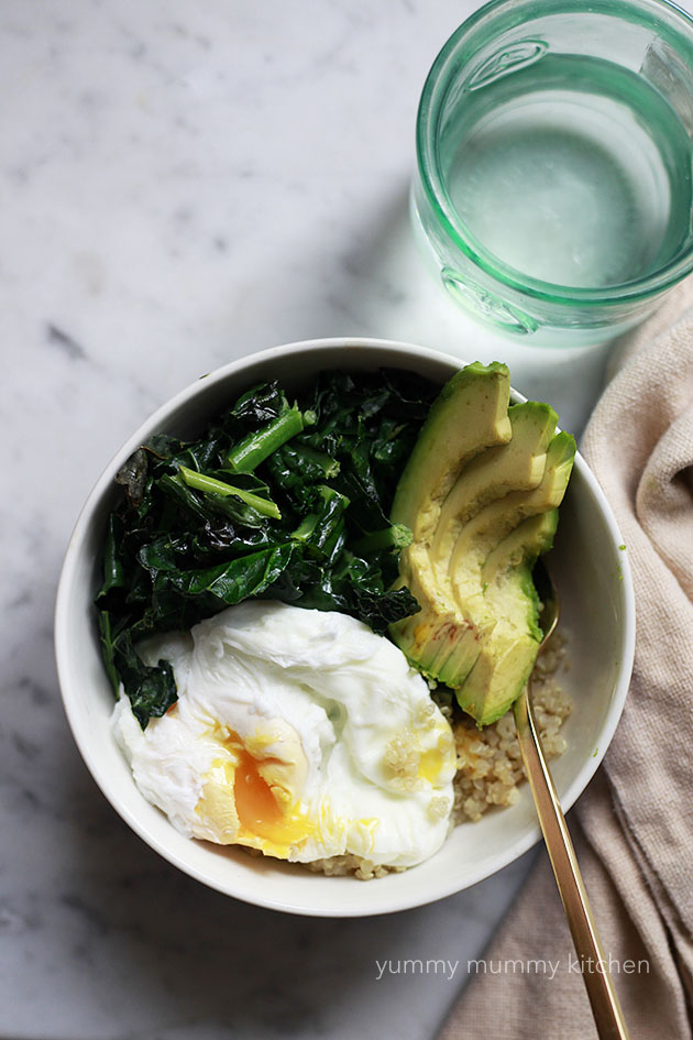 quinoa, kale, egg, avocado nourish bowl