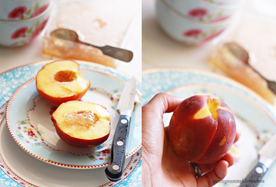 Whole peaches getting cut in half and stuffed with honey