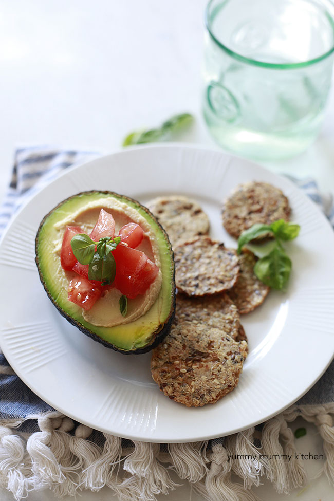Stuffed Avocados with Hummus