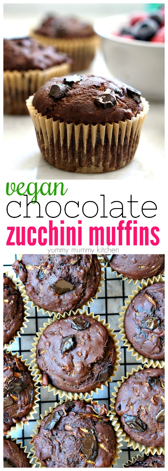 This simple recipe for vegan double chocolate zucchini muffins is the most delicious way to eat zucchini! It's filled with healthful ingredients like unsweetened cacao and coconut oil. This muffin recipe is easy to make gluten free.