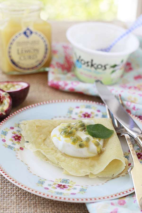 Crepes with a dollop of lemon cream and passion fruit.