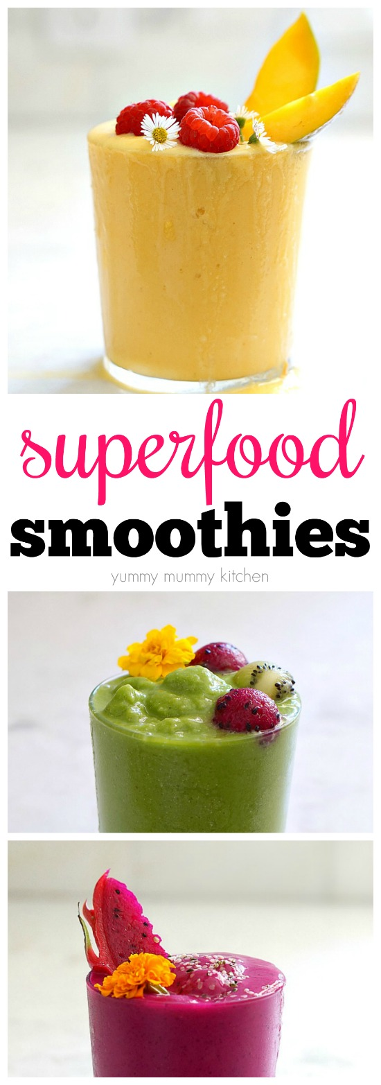 Colorful, healthy vegan superfood smoothie recipes for everything from weight loss to glowing skin.