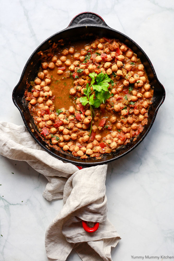 This easy chana masala recipe comes together in one pan for an easy vegan meal.