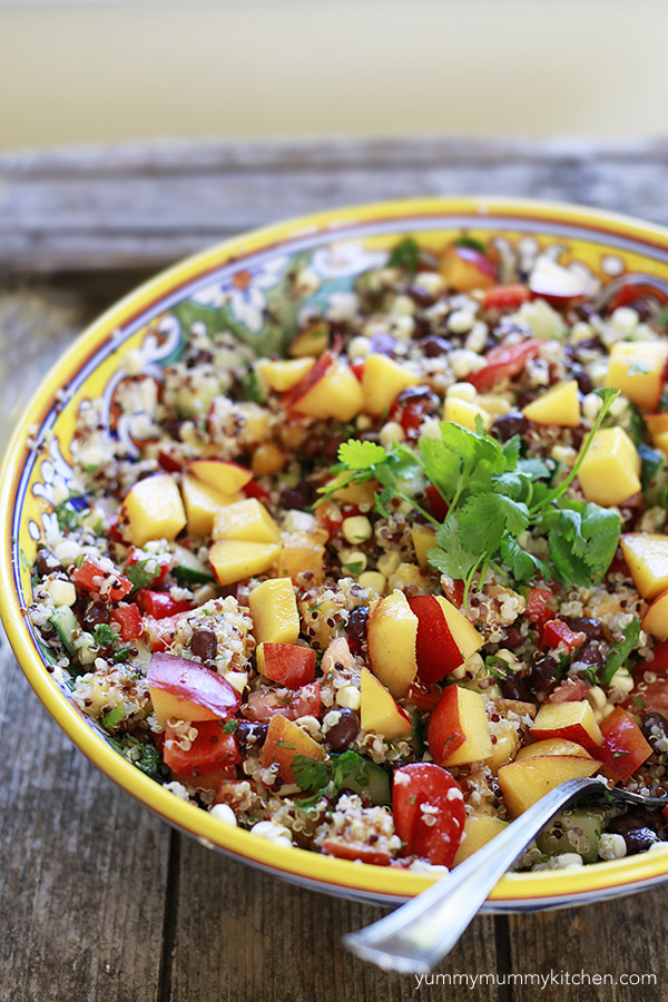 the best summer quinoa salad with peaches