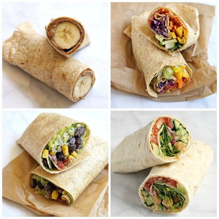 No cooking is required to make these colorful lunch wraps! Mash canned black or kidney beans with cumin and chili powder, and roll up in flour tortillas with cheddar cheese, diced tomato, avocado, and .