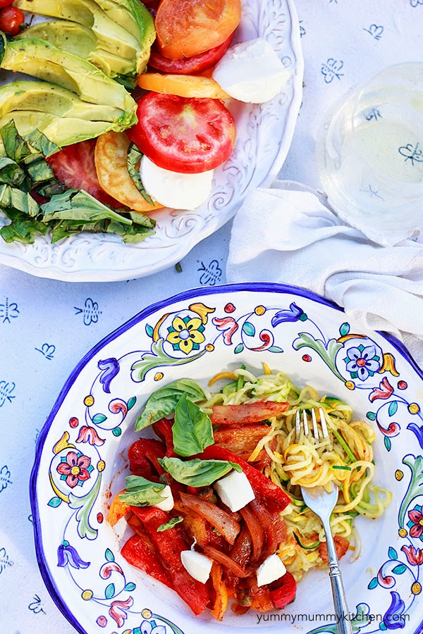 Italian peppers and onions served with basil and zucchini noodles.