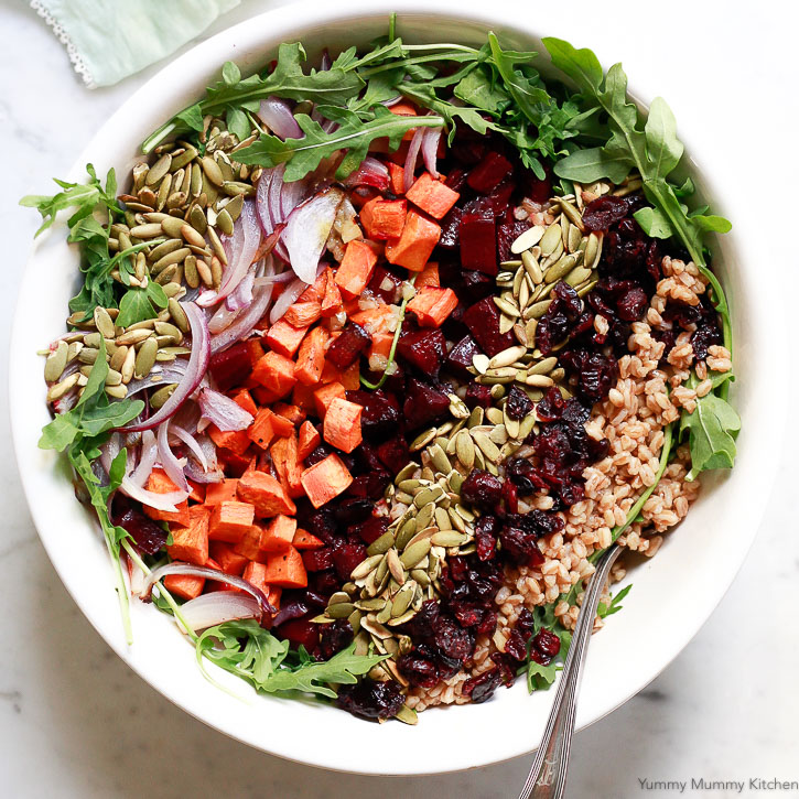 This farro salad is perfect for autumn and winter months when beets and sweet potatoes are in season. It's hearty and colorful.